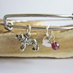 "Saint Bernard Mini Heart Stackable Bangle Bracelet (2.5""-3"")"