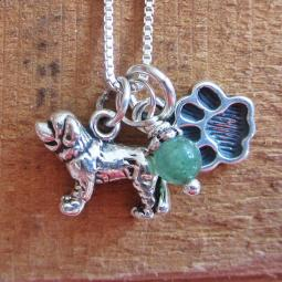 Saint Bernard Mini Paw Print Sterling Silver Necklace