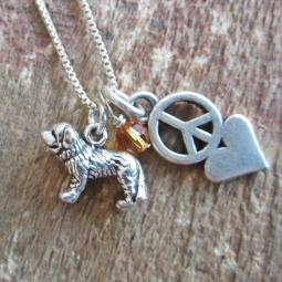 Saint Bernard Mini Peace Love Sterling Silver Necklace