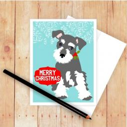 Schnauzer Merry Christmas Card