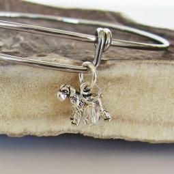 "Schnauzer Mini Dangle Stackable Bangle Bracelet (2.5""-3"")"