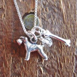Schnauzer Dog Bone Mini Sterling Silver Necklace