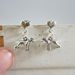 Schnauzer Mini Heart Sterling Silver Earrings