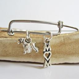 "Schnauzer Mom Stackable Bangle Bracelet (2.5""-3"")"