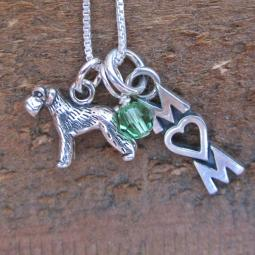 Schnauzer Mom Mini Sterling Silver Necklace