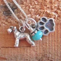 Schnauzer Mini Paw Print Sterling Silver Necklace