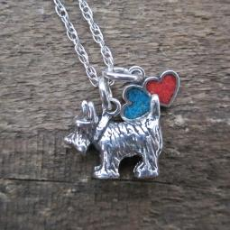 Scottish Terrier Large Double Heart Sterling Silver Necklace
