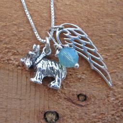 Scottish Terrier Large Angel Wing Sterling Silver Necklace