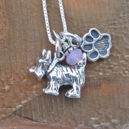 Scottish Terrier Paw Print Sterling Silver Necklace (large)