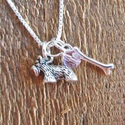 Scottish Terrier Dog Bone Mini Sterling Silver Necklace