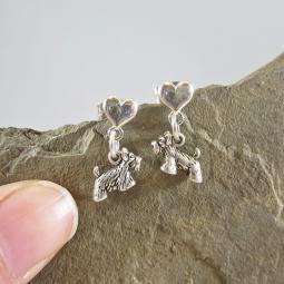 Scottish Terrier Mini Heart Sterling Silver Earrings