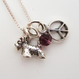 Scottish Terrier Mini Peace Sterling Silver Necklace