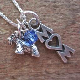 Scottish Terrier Mom Mini Sterling Silver Necklace