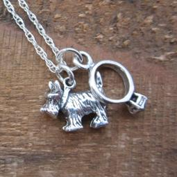 Scottish Terrier Engagement Ring Large Sterling Silver Necklace