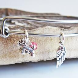Scottish Terrier Mini Angel Wing Stackable Bangle Bracelet