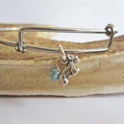 "Scottish Terrier Mini Dangle Stackable Bangle Bracelet (2.5""-3"")"