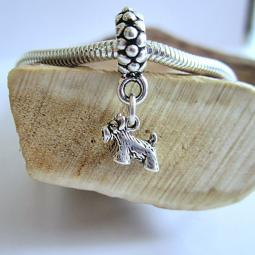 Scottish Terrier Mini Str Slvr European-Style Charm and Bracelet
