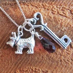 Scottish Terrier Large Key To My Heart Sterling Silver Necklace