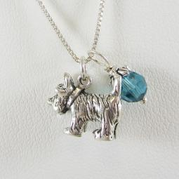 Scottish Terrier Large Charm Sterling Silver Necklace
