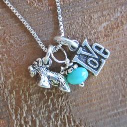 Scottish Terrier Love Mini Sterling Silver Necklace