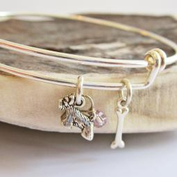 Scottish Terrier Mini Bone Stackable Bangle Bracelet