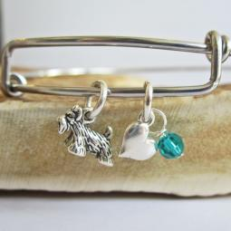 "Scottish Terrier Mini Heart Stackable Bangle Bracelet (2.5""-3"")"