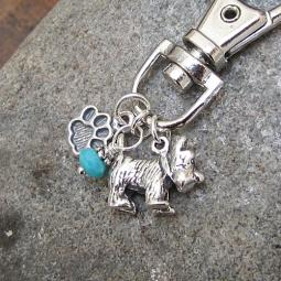 Scottish Terrier Paw Print Keychain