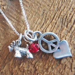 Scottish Terrier Mini Peace Love Sterling Silver Necklace