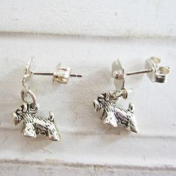 Scottish Terrier Poppy Sterling Silver Earrings