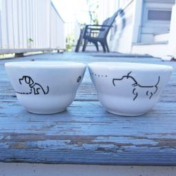 Set of Two Handpainted Snack Bowl