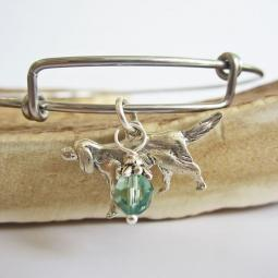 "Golden Retriever Large Dangle Stackable Bangle Bracelet (2.5""-3"""