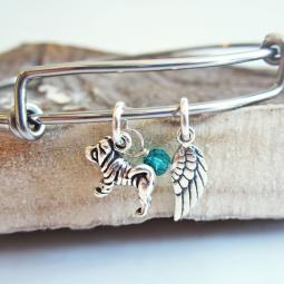 Shar-Pei Mini Angel Wing Stackable Bangle Bracelet