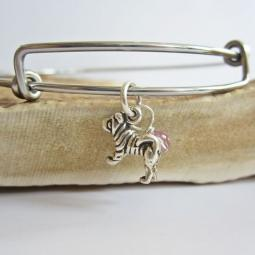 "Shar-Pei Mini Dangle Stackable Bangle Bracelet (2.5""-3"")"