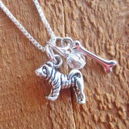 Shar-Pei Dog Bone Mini Sterling Silver Necklace