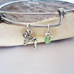 "Shar-Pei Mini Heart Stackable Bangle Bracelet (2.5""-3"")"