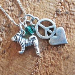 Shar-Pei Mini Peace Love Sterling Silver Necklace