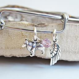 Sheltie Mini Angel Wing Stackable Bangle Bracelet