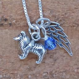 Sheltie Mini Angel Wing Sterling Silver Necklace