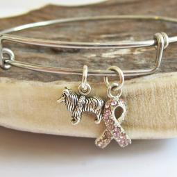 Sheltie Breast Cancer Awareness Bangle Bracelet