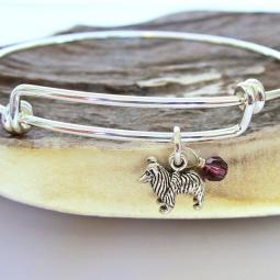 "Sheltie Mini Dangle Stackable Bangle Bracelet (2.5""-3"")"