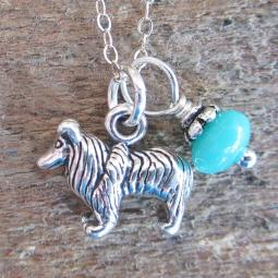 Sheltie Glass Bead Sterling Silver Necklace