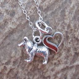 Sheltie In My Heart Mini Sterling Silver Necklace