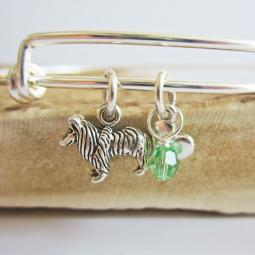 "Sheltie Mini Heart Stackable Bangle Bracelet (2.5""-3"")"