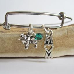 "Sheltie Mom Stackable Bangle Bracelet (2.5""-3"")"