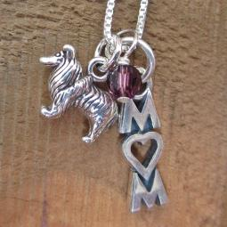 Sheltie Mom Mini Sterling Silver Necklace