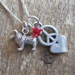 Sheltie Mini Peace Love Sterling Silver Necklace