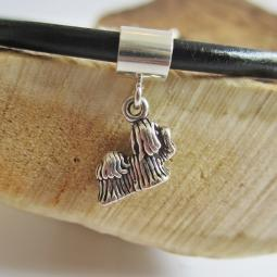 Shih Tzu Mini Sterling Silver European-Style Charm and Bracelet