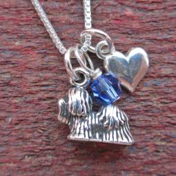 Shih Tzu Mini Heart Sterling Silver Necklace