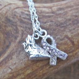 Shih Tzu Breast Cancer Awareness Ribbon Sterling Silver Necklace