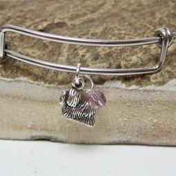 "Shih Tzu Mini Dangle Stackable Bangle Bracelet (2.5""-3"")"